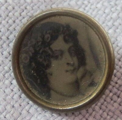 "Tiny Antique 1/2"" PORTRAIT Button Lady HAND PAINTED?Brass Georgian Victorian"