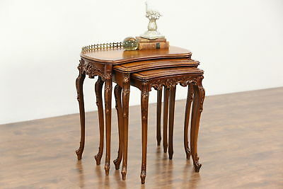 Set of 3 French Style Marquetry 1940 Vintage Nesting Tables, Signed