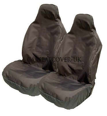 BMW 3-Series Convertible - H. Duty Black Waterproof Car Seat Covers - 2 x Fronts
