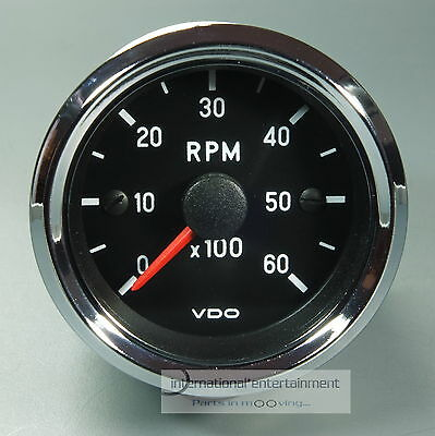 VDO DREHZAHLMESSER TACHOMETER *CHROME EDITION*  52mm INSTRUMENT  6000 UPM 12V