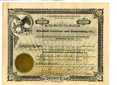 1902 Stock Cert. Elizabeth Furniture And Undertaking Co. Elizabeth, W.Va.
