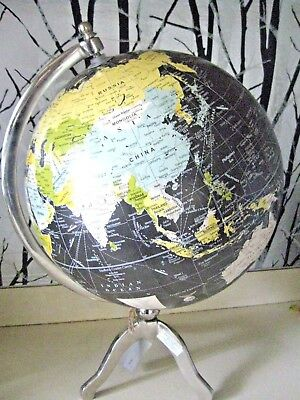 "Vintage 12"" Black Decorative World Globe On Chrome Stand"