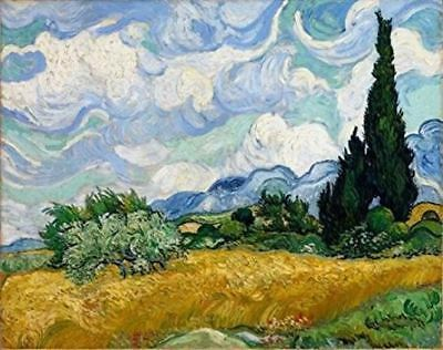 "Wieco Art - Wheat Field with Cypresses by Van Gogh Famous Oil Paintings, 16""x12"""