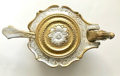 Unique Italian florentine sugar bowl gold/white with glass bowl and spoon