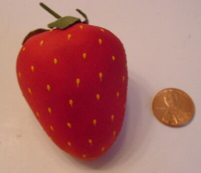 Antique/Vintage Plump Red Silk Strawberry Sewing Emery With Yellow Painted Seeds