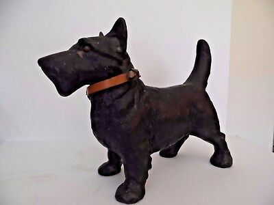 Vintage Cast Iron Scottie Scottish Terrier Dog Door Stop