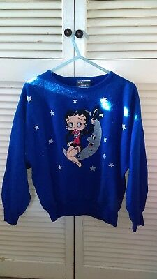 Vintage 1984 Avon Fashions Betty Boop Top Hat Moon Blue Sweater Unfindable