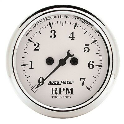 """AutoMeter 1694 Old Tyme White Electric Tach. 2 1/16"""" 7000 RPM"""
