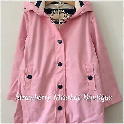 New AW17 Girl Hatley Pink & Navy Classic Splash Raincoat Mac Jacket 7 8 10 12