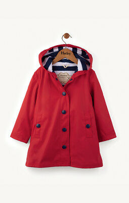 New Girl Hatley Red & Navy Classic Splash Raincoat Mac Jacket 7 8 10 12