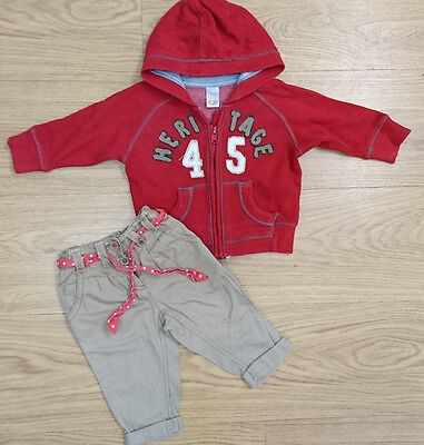 NEXT GIRLS BUNDLE OUTFIT AGE 3-6 MONTHS red hoodie brown trouser