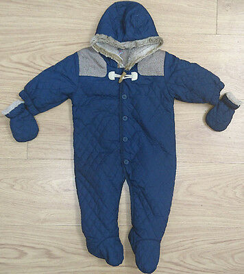 NEXT baby boys snowsuit age 3-6 months navy quilted all in one fur lined