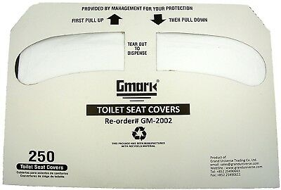 Gmark Toilet Seat Covers Disposable Half-Fold 1000 Per Case (4 Packs Of 250)