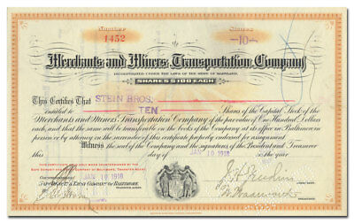 Merchants and Miners Transportation Company Stock Certificate
