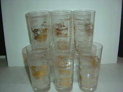 6 Vintage Glasses, Loyal Order of Moose, 1956 Golden Anniversery, 61/2 inch