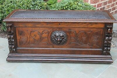 Antique French GOTHIC Oak Black Forest Blanket Box Chest Trunk Bench Leather Top