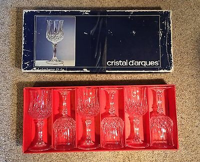 "SET OF 6 CRISTAL D'ARQUES LONGCHAMP 25cl WATER GOBLETS IN BOX 8oz 7.25"" tall"