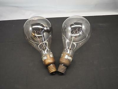 Pair of Vintage Industrial Antique Large Light Bulbs Edison Brass Free Shipping!