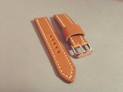 Handmade Tan Leather Watch Strap - 18mm, 19mm, 20mm, 21mm, 22mm, 24mm widths