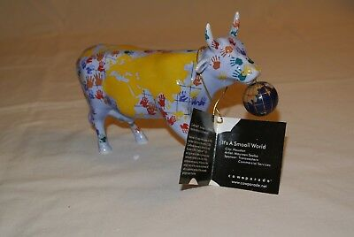 "Cow Parade ""It's a Smooll World"" #7312, Pristine with Tag and Original Box"