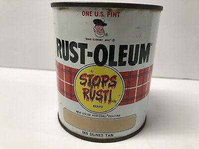 Vintage Rust-Oleum One U.S. Pint 16oz #865 Dunes Tan Oil Paint 1967 Made in USA