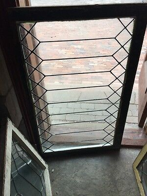 Sg1126 Antique Geometric Leaded Glass Transom Window
