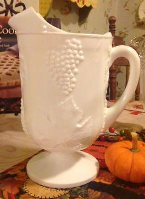 """Vintage Large White Milk Glass Pitcher Embossed Grapes & Leaves 10 1/2"""" tall"""