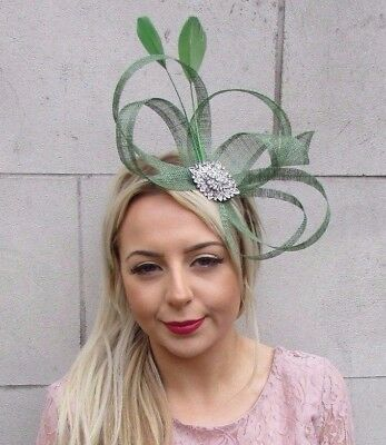 Moss Olive Green Silver Diamante Sinamay Feather Fascinator Races Headband 4514