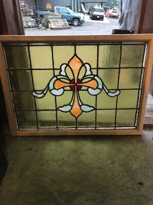 SG 1652 antique Stainglass transom window 20.2 5H by 28.5 W