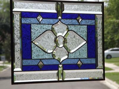 """•SWEET BLUE •Beveled Stained Glass Window Panel •21 1/2"""" x14 1/2"""""""