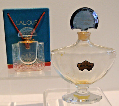 2 Lalique Perfume Bottles - Guerlain Shalimar And Lalique Parfum With Box