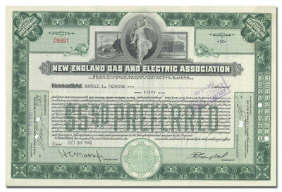 New England Gas and Electric Association Stock Certificate