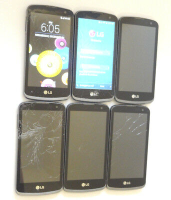 Lot of 6 LG Spree Cricket K120 Smartphones All Power On With Good LCD AS-IS GSM