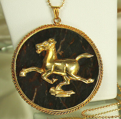 1920s Deco GOLD over SILVER HORSE on BLOODSTONE Agate Pendant~New Vermeil Chain