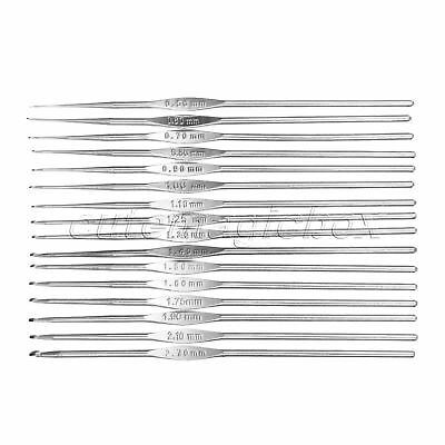 0.5-2.7mm 1/16pcs DIY Craft Tool Silver Metal Crochet Hook Knitting Weave Needle