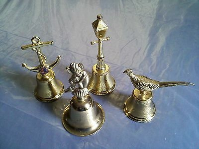 Vintage Gold Tone Metal Dinner Bells -- LOT OF 4