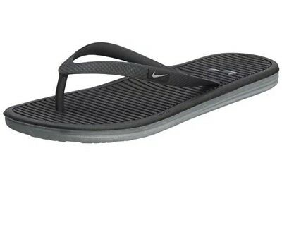 f6f15b22f06d NIKE Women s Solarsoft Thong 2 Flip-Flops Sandals 488161-010 Black Grey Size