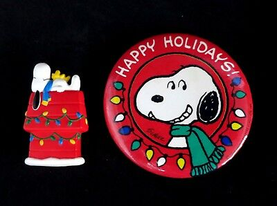 Snoopy Christmas Pin and Button Vintage SET OF 2 Holidays Hallmark *SALE*