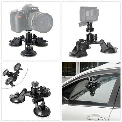 Heavy Duty Car Windshield Triple Suction Cup Mount Ball Head DSLR Camcorder