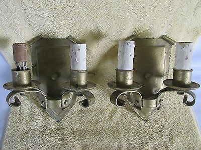 Gothic Tudor Sconces, Shield Back, Double Lamp, Art Deco Era for Restoration
