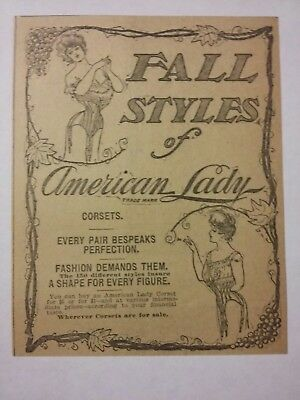 1904 Fall Styles of American Lady Corsets Ad Lingerie