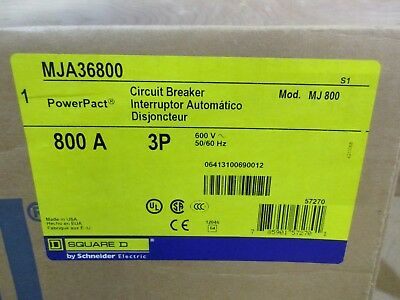 NEW in BOX Square D MJA36800 PowerPact Circuit Breaker 800 Amp 3 Pole 600 Volt