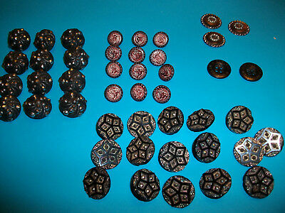 45 Victorian Buttons - Mixed Lot Metal/glass Antique