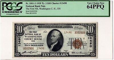 1929 $10 First National Washington Court House OH Ch.13490 - PCGS 64 PPQ - BEST