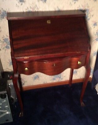 Antique Mahogany Drop Front Serpentine Secretary Desk With Drawer