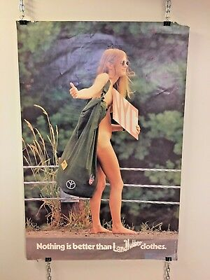 Vintage 1971 Landlubber Clothing Promo Poster Nothing is Better Hippie Hitchhike