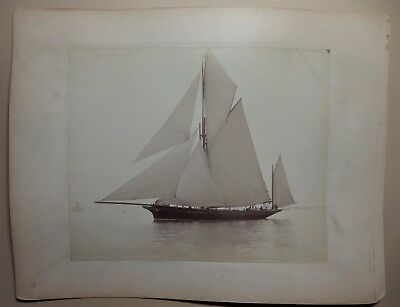 Fine Large Albumen Photograph Of Yacht Wendar By Nathaniel Stebbins 1886