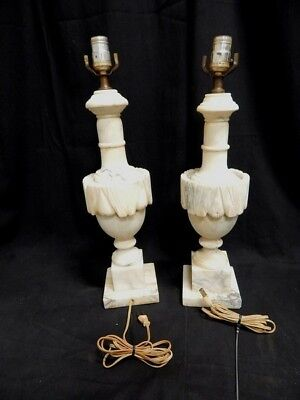 Beautiful Pair Of Italian Hand Carved Vintage Alabaster Marble Lamps