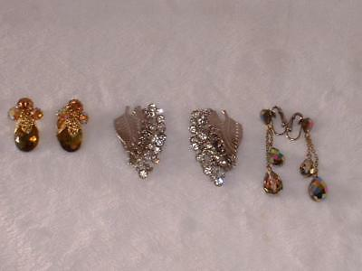 Lot Of Three Pair Of Vintage Clip On Earrings Crystals Rhinestones