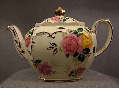 Vintage Sadler England Cube Teapot, Ivory with Pink & Yellow Roses and Gold Trim